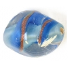 Glass Lamp Bead 18x13mm Oval Light Blue/Gold